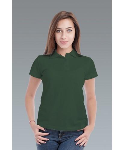 Рубашка-поло женская темно зелёная