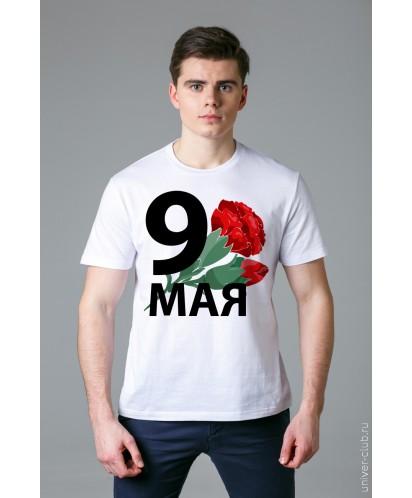 Футболка мужская белая «9 мая - тюльпаны»