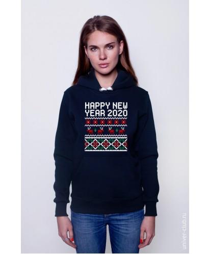 Толстовка унисекс Happy New Year 2020 (с оленями)