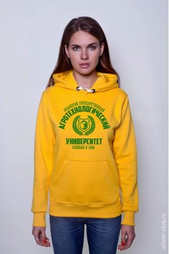 Толстовка женская РГАТУ желтая