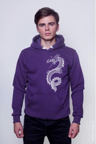 Толстовка фиолетовая Белый дракон