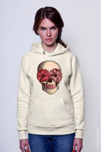 Толстовка Череп с цветами белая