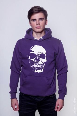 Толстовка фиолетовая Белый череп